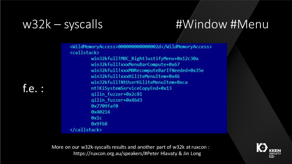 w32k – syscalls #Window #Menu More on our w32k-...