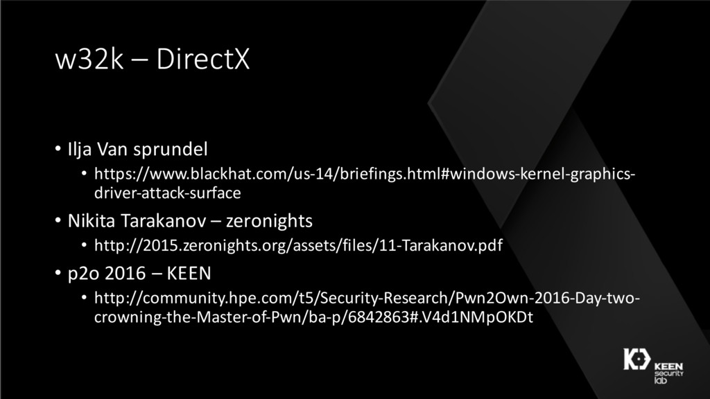 w32k – DirectX • Ilja Van sprundel • https://ww...