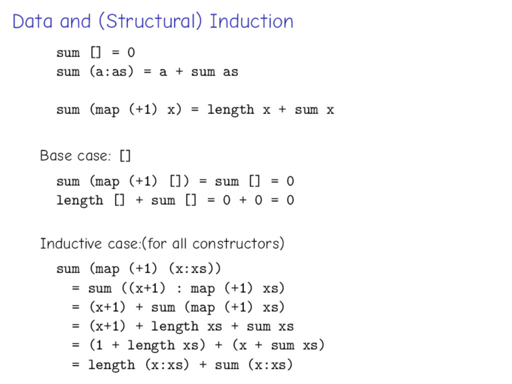 Data and (Structural) Induction sum [] = 0 sum ...
