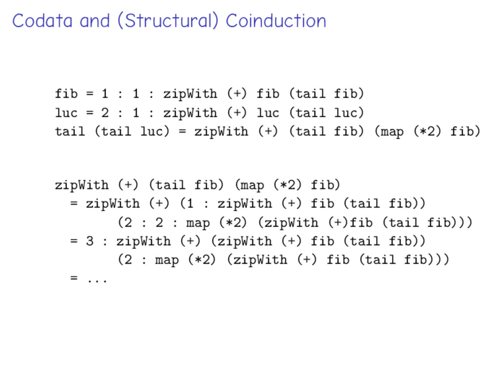Codata and (Structural) Coinduction fib = 1 : 1...