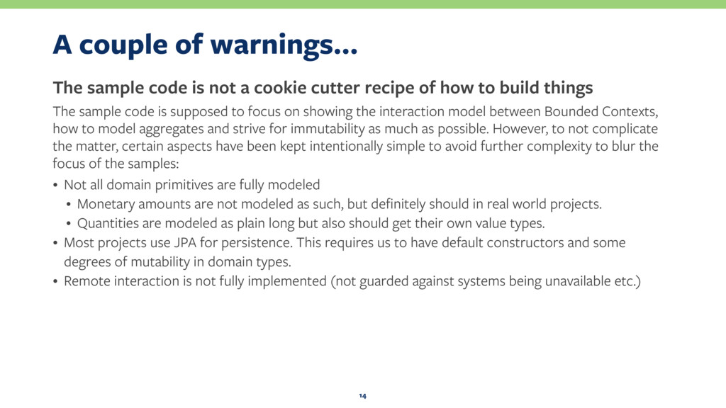 A couple of warnings… The sample code is not a ...
