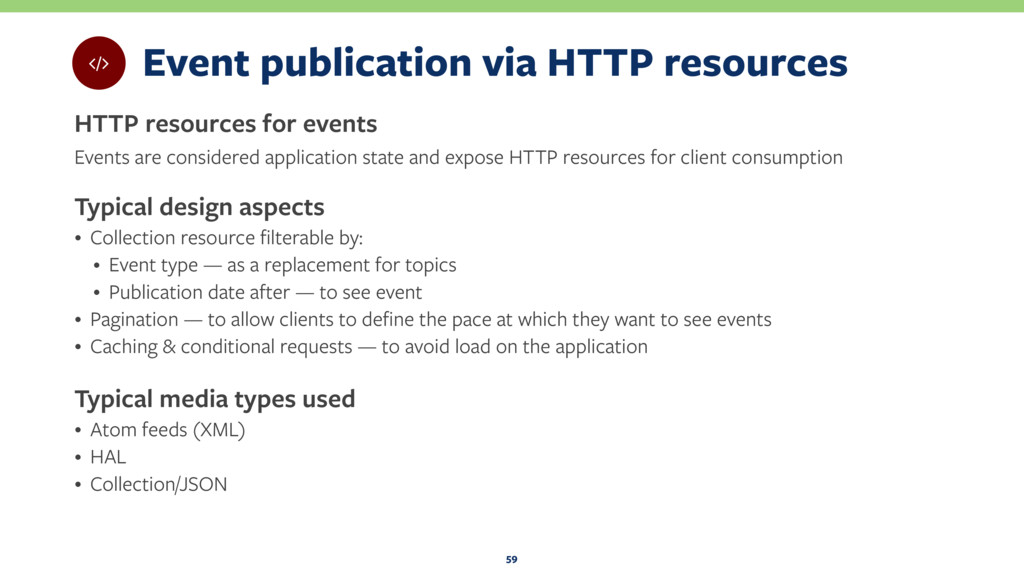 Event publication via HTTP resources HTTP resou...