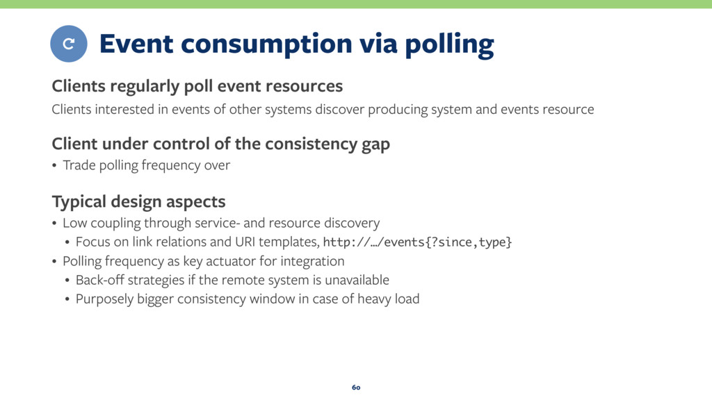 Event consumption via polling Clients regularly...