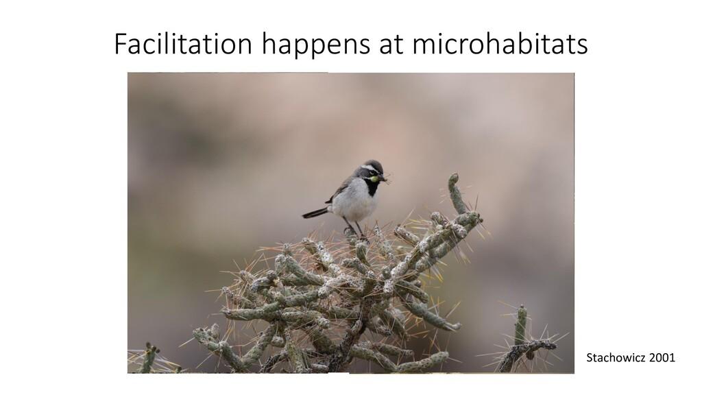 Facilitation happens at microhabitats Stachowic...