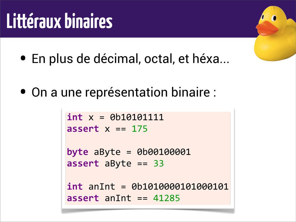 Littéraux binaires • En plus de décimal, octal,...