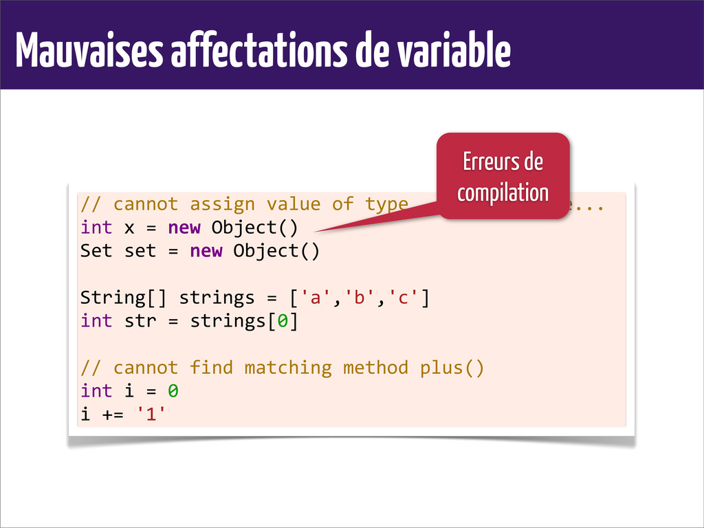 Mauvaises affectations de variable // cannot...