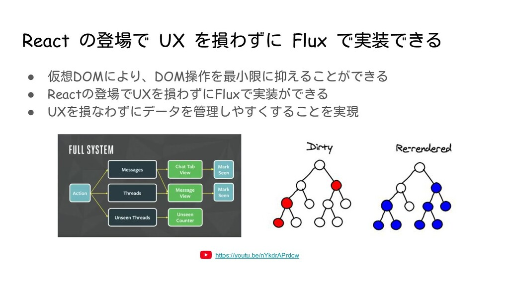 React の登場で UX を損わずに Flux で実装できる ● 仮想DOMにより、DOM操...