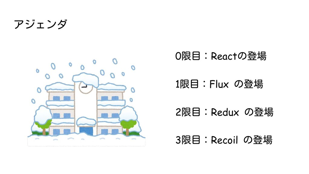 アジェンダ 0限目:Reactの登場 1限目:Flux の登場 2限目:Redux の登場 3...