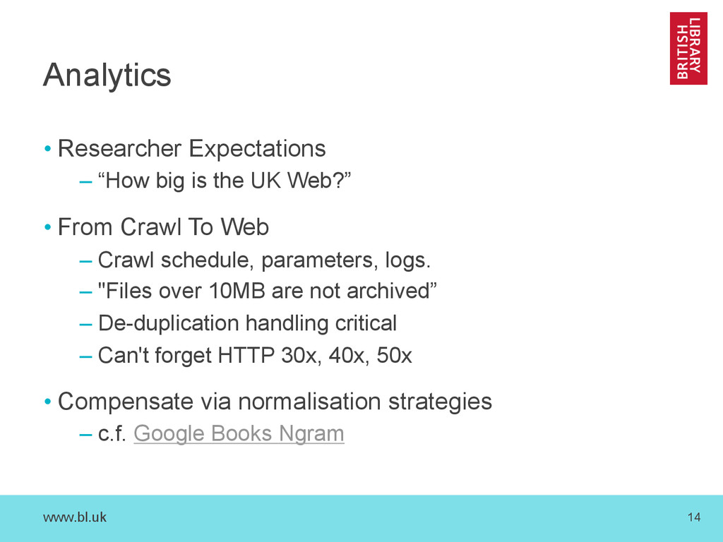 www.bl.uk 14 Analytics • Researcher Expectation...