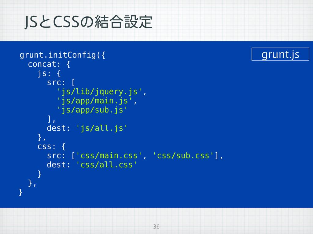 +4ͱ$44ͷ݁߹ઃఆ 36 grunt.initConfig({ concat: { js:...