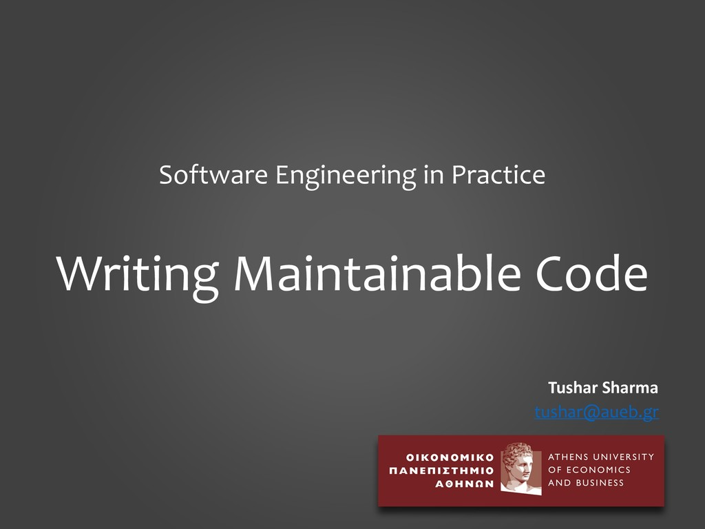 Software Engineering in Practice Writing Mainta...