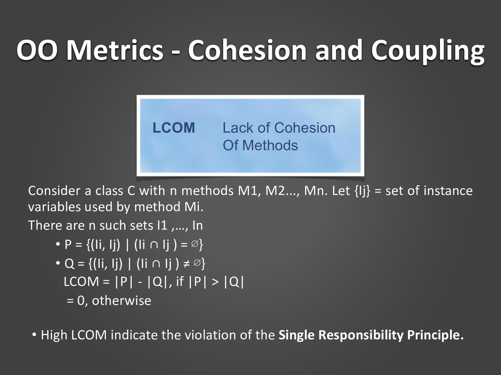 OO Metrics - Cohesion and Coupling Consider a c...