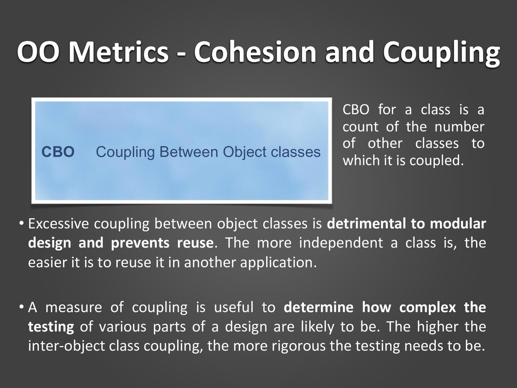 OO Metrics - Cohesion and Coupling CBO for a cl...