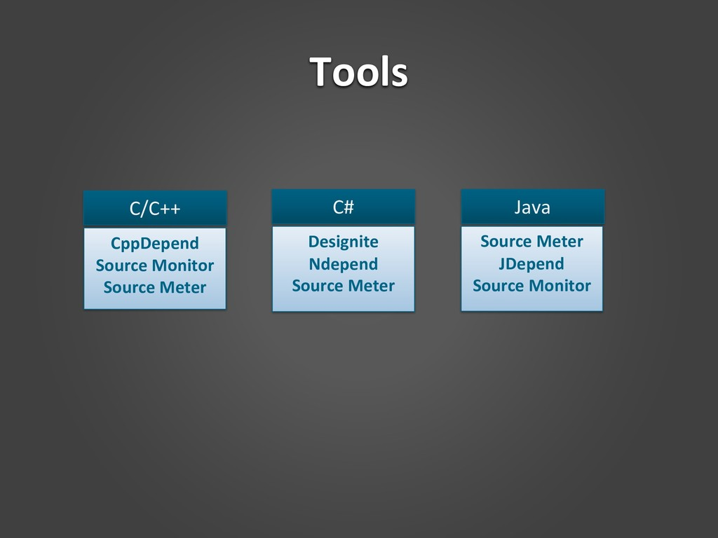 Tools C/C++ CppDepend Source Monitor Source Met...