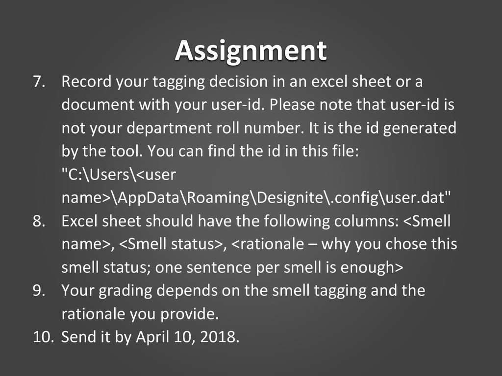 Assignment 7. Record your tagging decision in a...