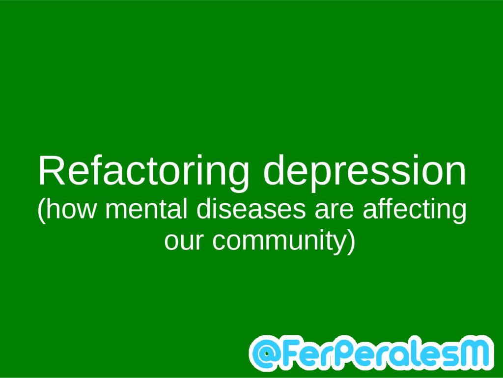 Refactoring depression (how mental diseases are...