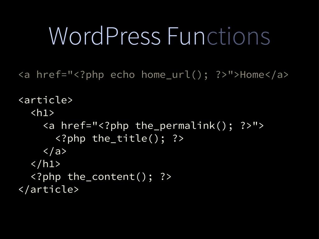 "WordPress Functions <a href=""<?php echo home_ur..."
