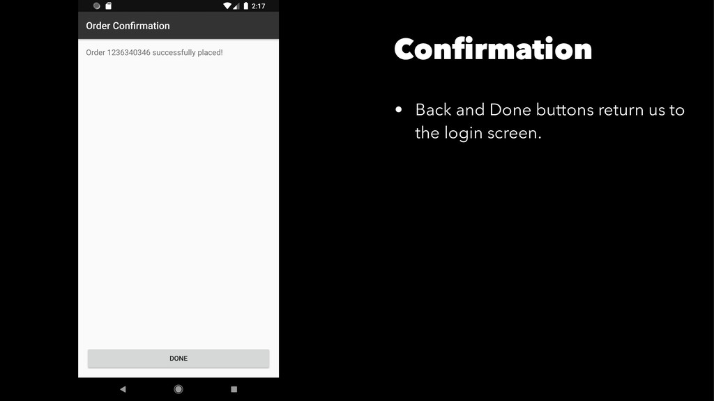 Confirmation • Back and Done buttons return us t...