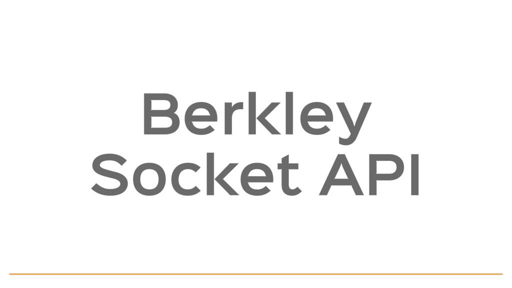 Berkley Socket API