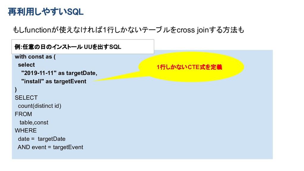 """再利用しやすいSQL with const as ( select """"2019-11-11""""..."""