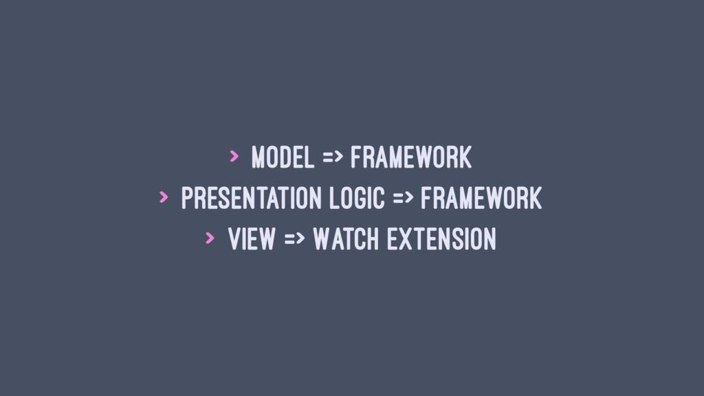 > Model => Framework > Presentation Logic => Fr...