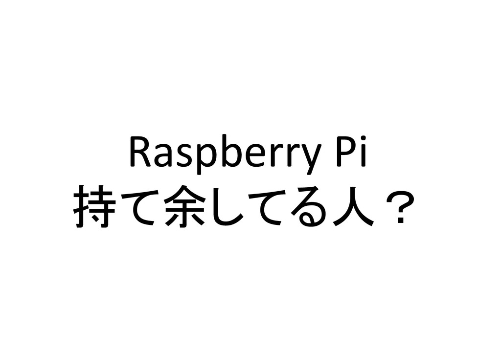 Raspberry Pi  持て余してる人?