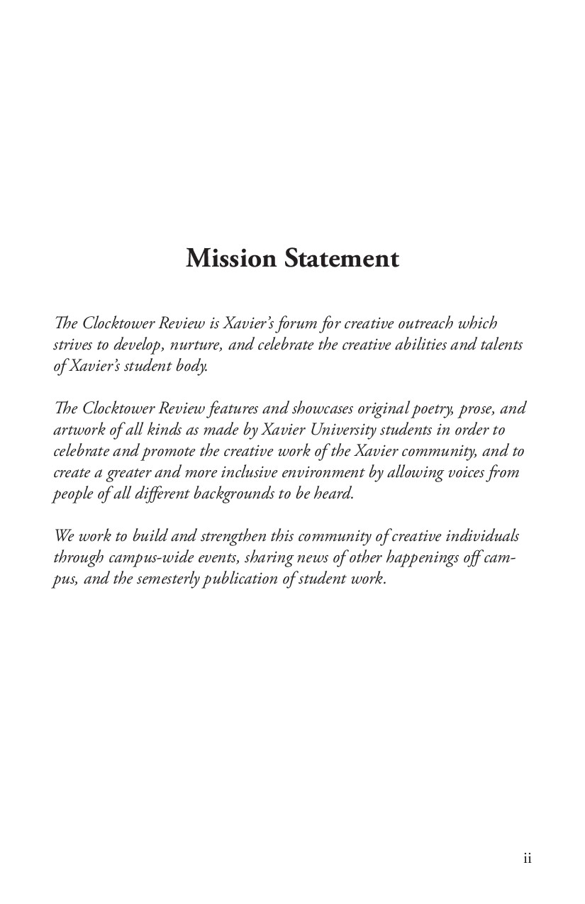 Mission Statement The Clocktower Review is Xavi...
