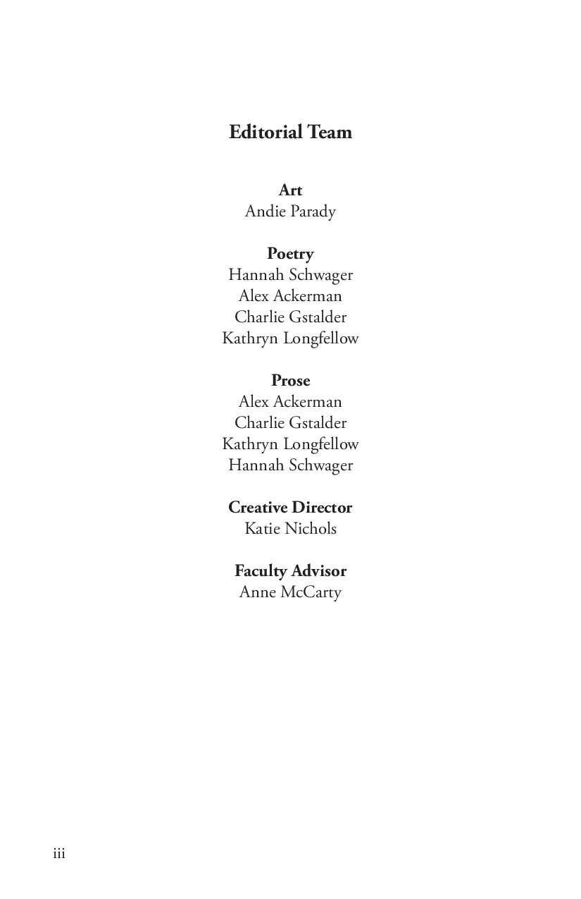 Editorial Team Art Andie Parady Poetry Hannah S...