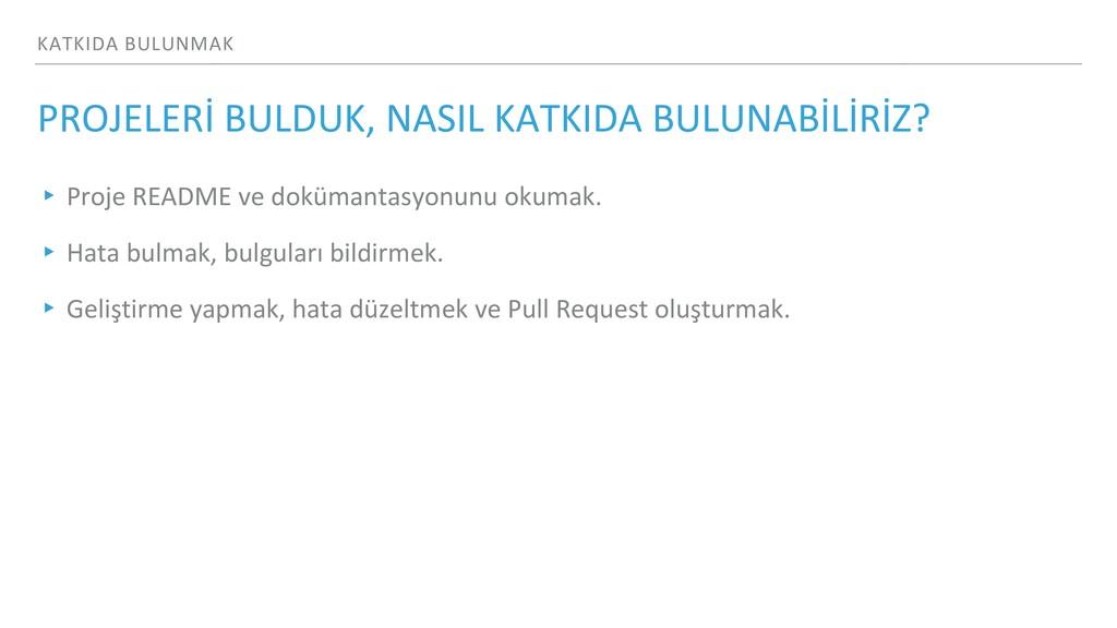 KATKIDA BULUNMAK PROJELERİ BULDUK, NASIL KATKID...
