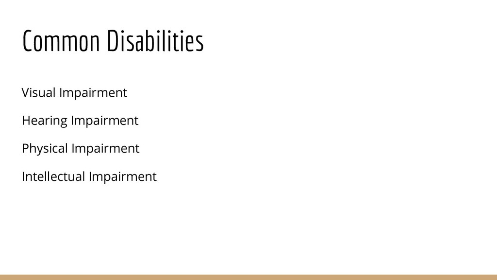 Common Disabilities Visual Impairment Hearing I...