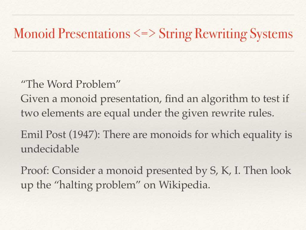 Monoid Presentations <=> String Rewriting Syste...