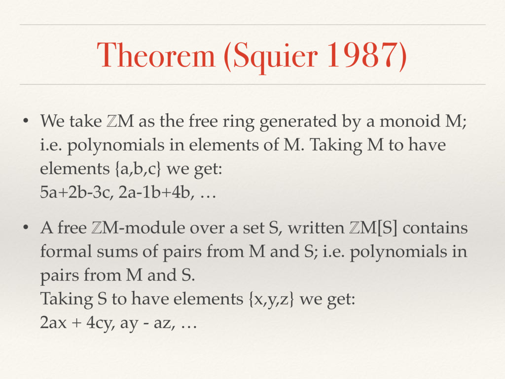 Theorem (Squier 1987) • We take ℤM as the free ...