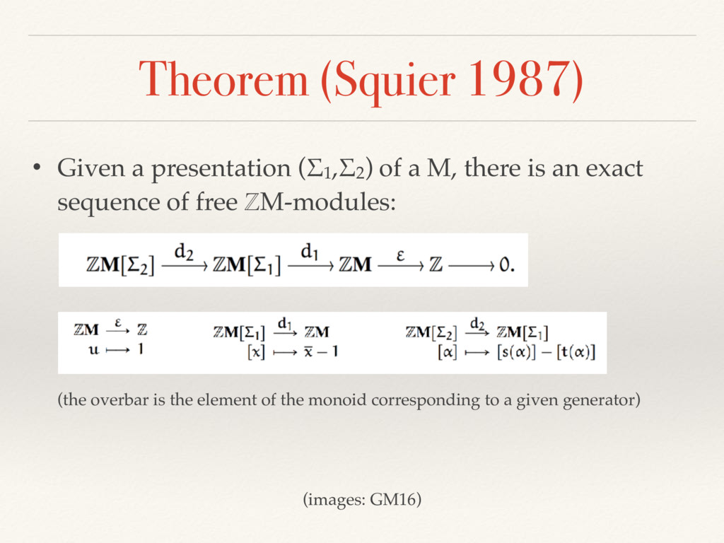 Theorem (Squier 1987) • Given a presentation (Σ...