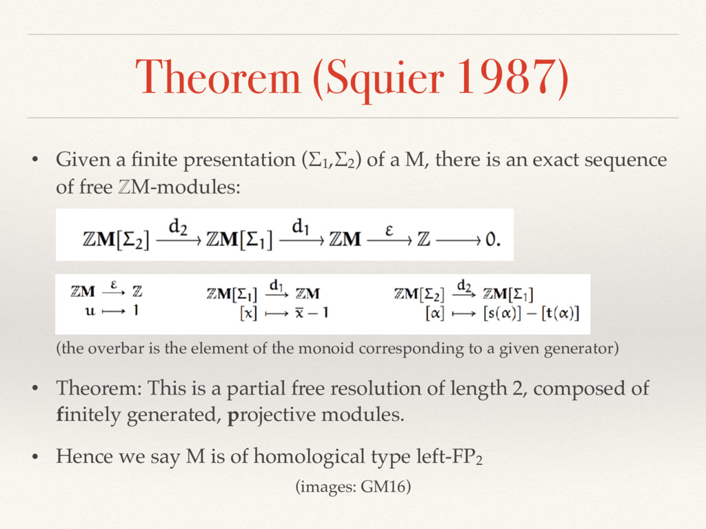 Theorem (Squier 1987) • Given a finite presentat...