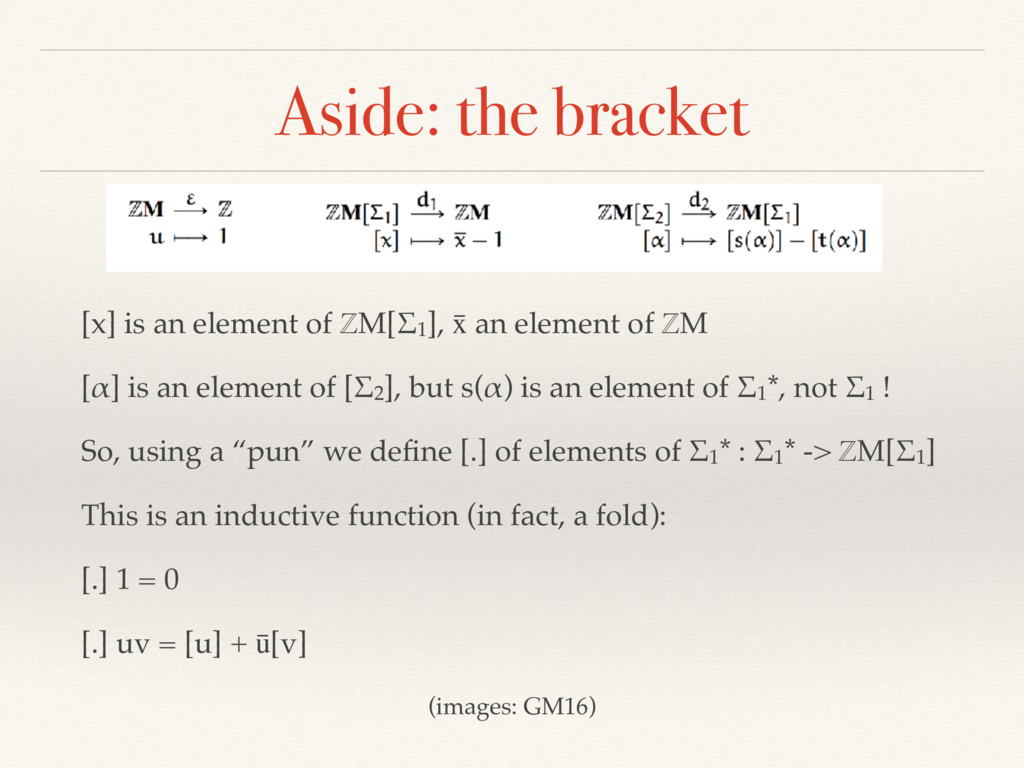 Aside: the bracket [x] is an element of ℤM[Σ1],...