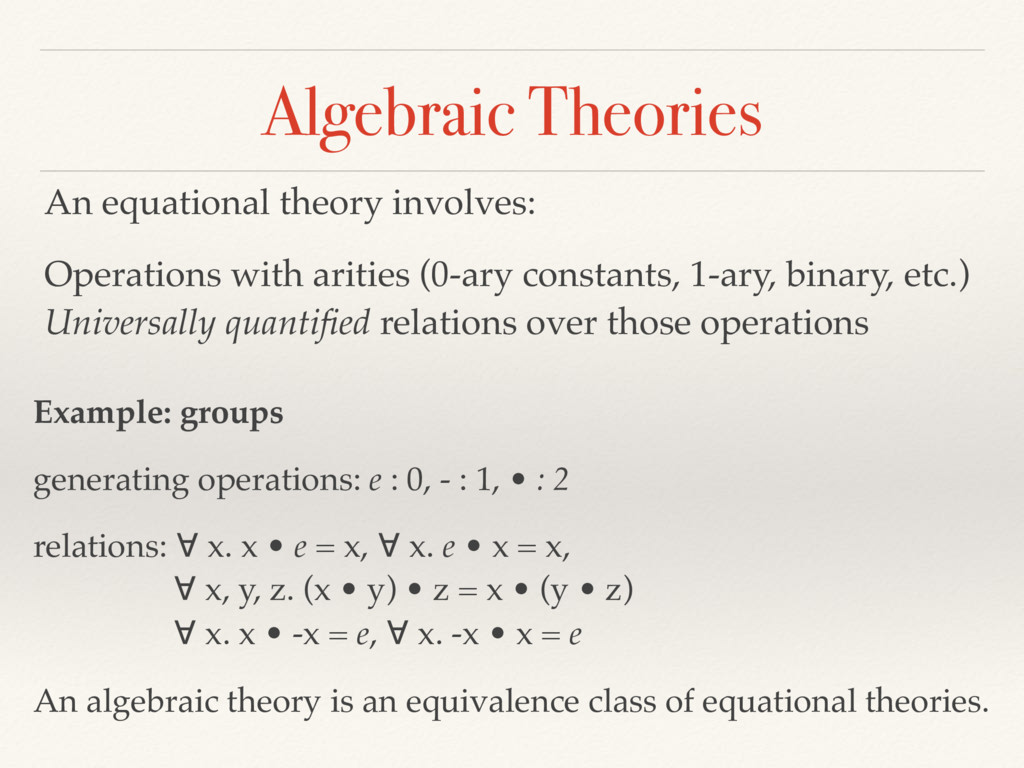 Algebraic Theories An equational theory involve...