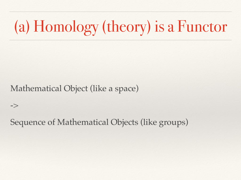 (a) Homology (theory) is a Functor Mathematical...