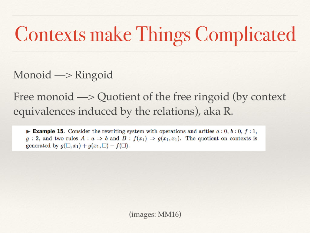 Contexts make Things Complicated Monoid —> Ring...