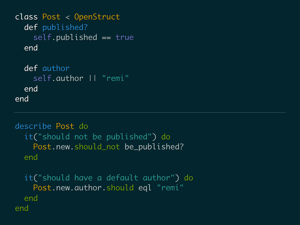 """describe Post do it(""""should not be published"""") ..."""