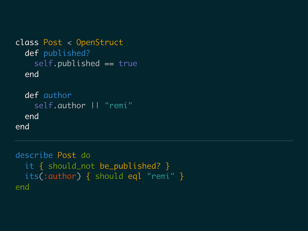 describe Post do it { should_not be_published? ...