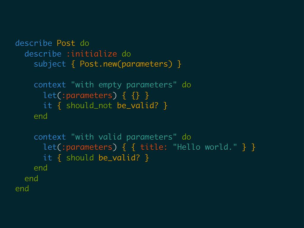describe Post do describe :initialize do subjec...