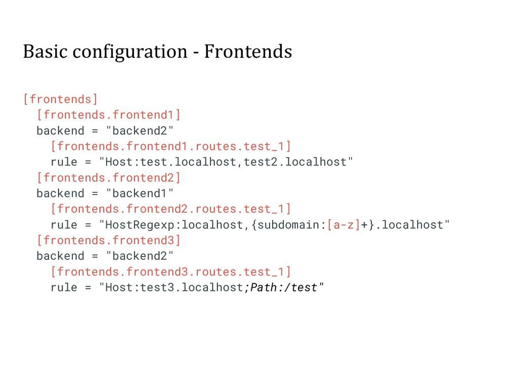 Basic configuration - Frontends [frontends] [fr...