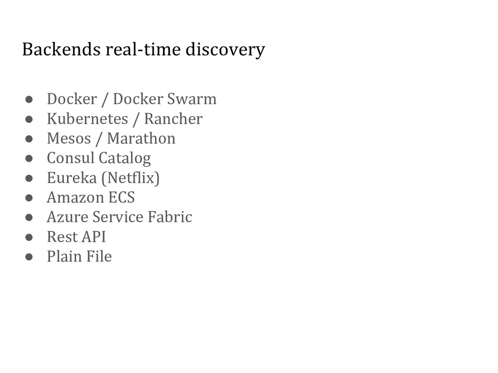 Backends real-time discovery ● Docker / Docker ...