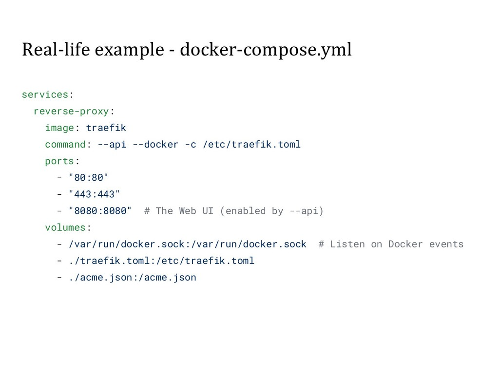 Real-life example - docker-compose.yml services...