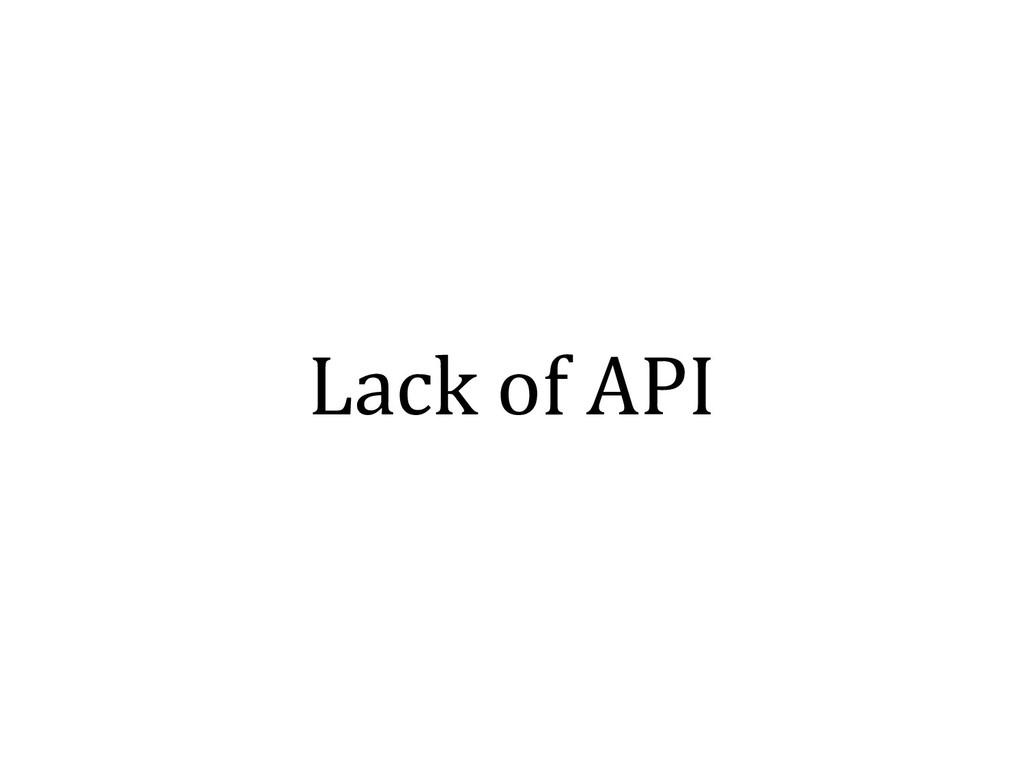 Lack of API