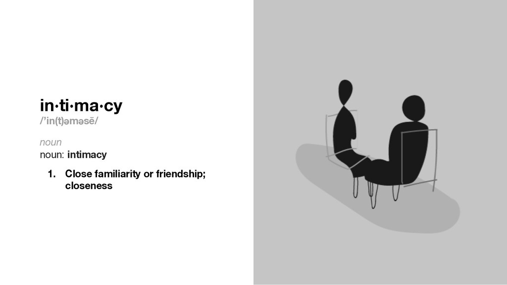 in·ti·ma·cy /'in(t)ǝmǝsē/ noun noun: intimacy 1...
