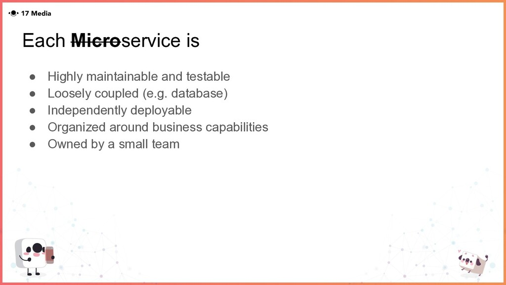Each Microservice is ● Highly maintainable and ...