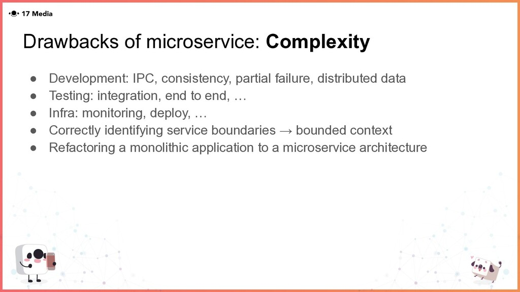 Drawbacks of microservice: Complexity ● Develop...