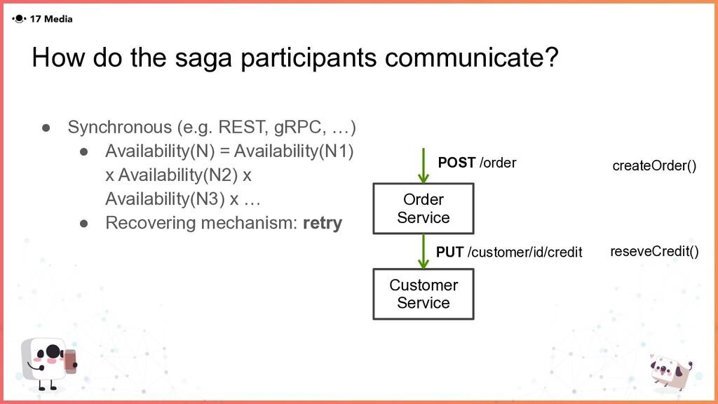How do the saga participants communicate? ● Syn...