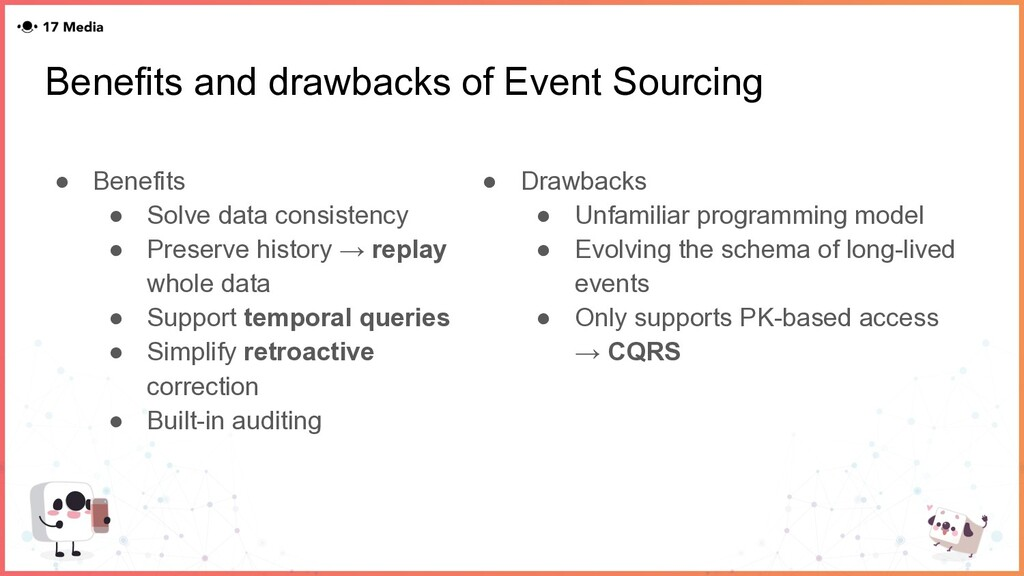 Benefits and drawbacks of Event Sourcing ● Bene...